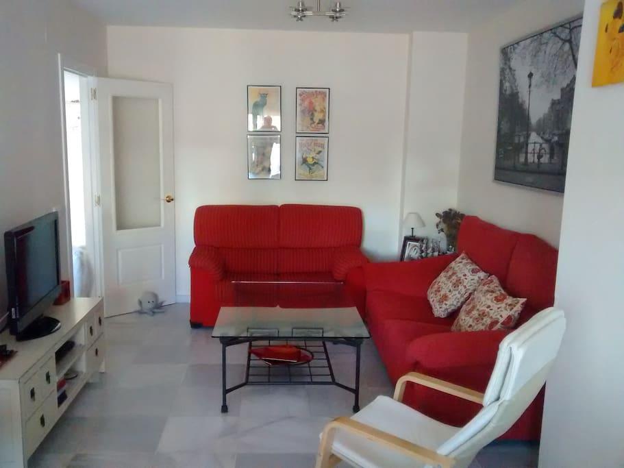 Salón con 2 sofás, TV pantalla plana y DVD.