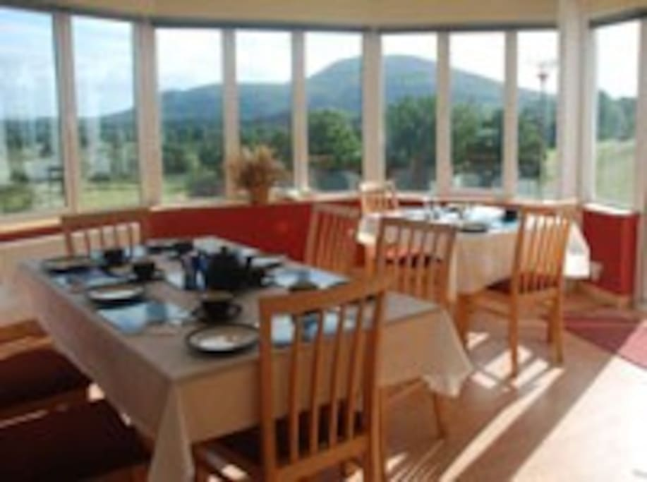 Dining room with stunning views of Benbo.
