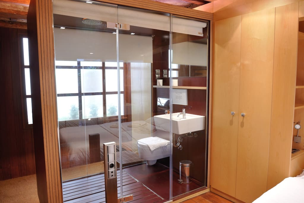 If you like wide spaces or are having a romantic holiday keep the blinds up. If you want a private bathroom close them.