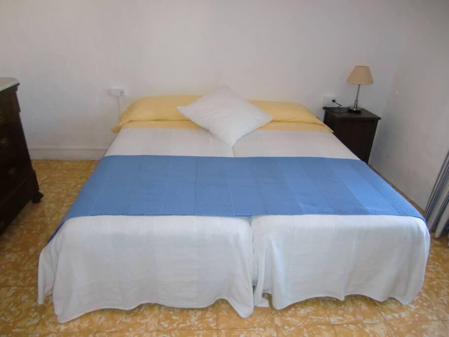 camas individuales en dormitorio principal