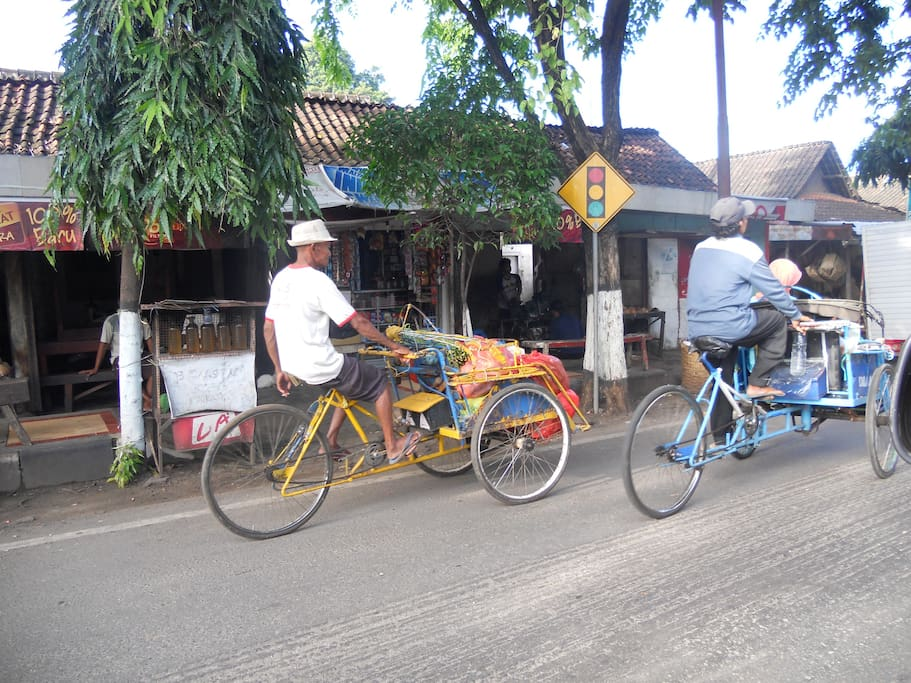becak, traditional transportation