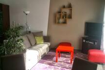Le salon avec TV, Freebox, PS3