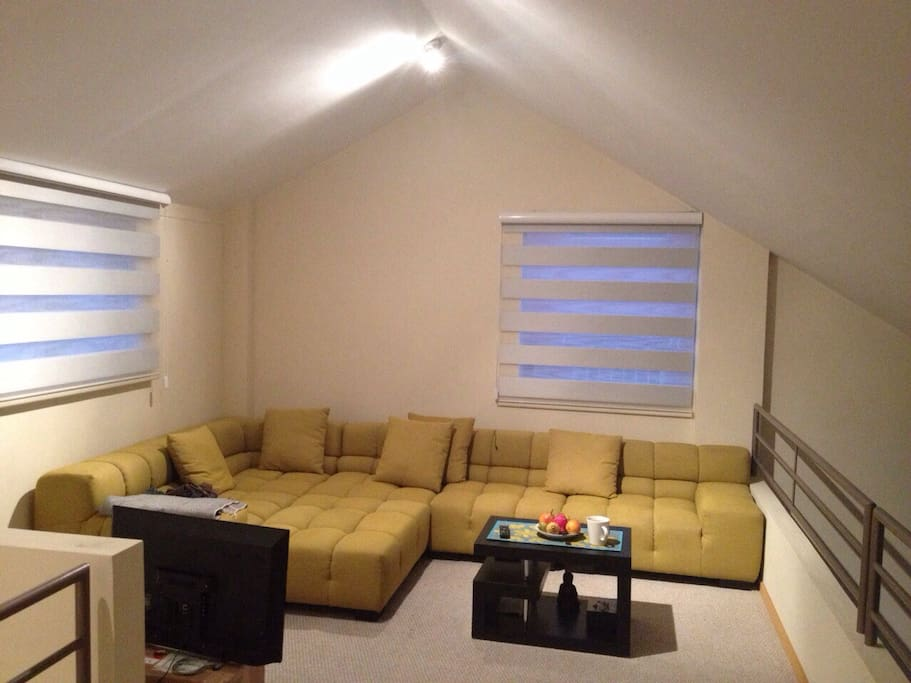 Family Room with full HD cable tv, wireless internet and a DVD player.  Great to enjoy the chilly evenings of Quito.