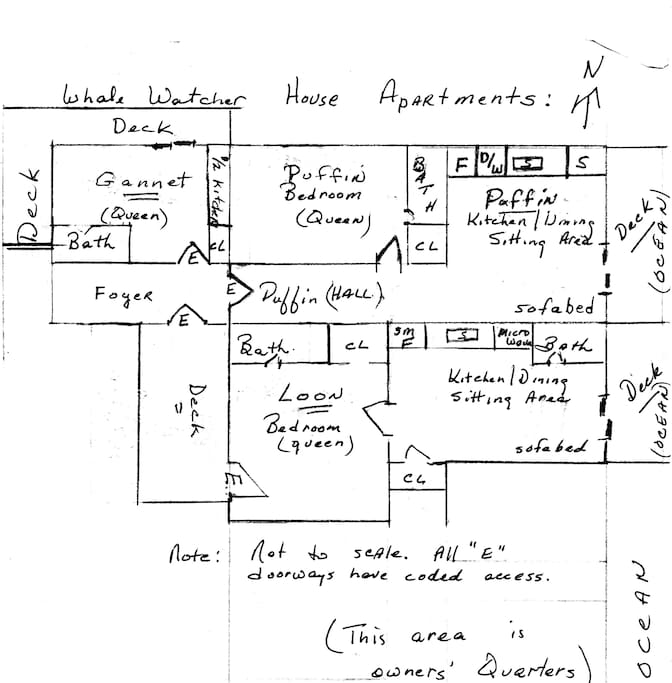 This is a very rudimentary drawing of the three units - the Puffin, the Gannet and the Loon.  It will help you locate each individual unit within the Whale Watcher House.  The south portion of the house is the owners' quarters.