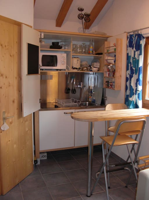 Kitchenette equipped with microwave oven, 2 burners, sink, utensils, plates, glasses and cutlery.