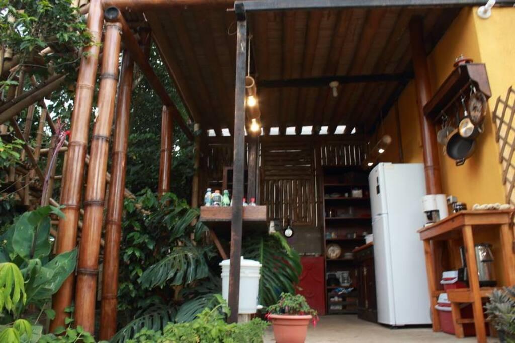 Open-air communal kitchen