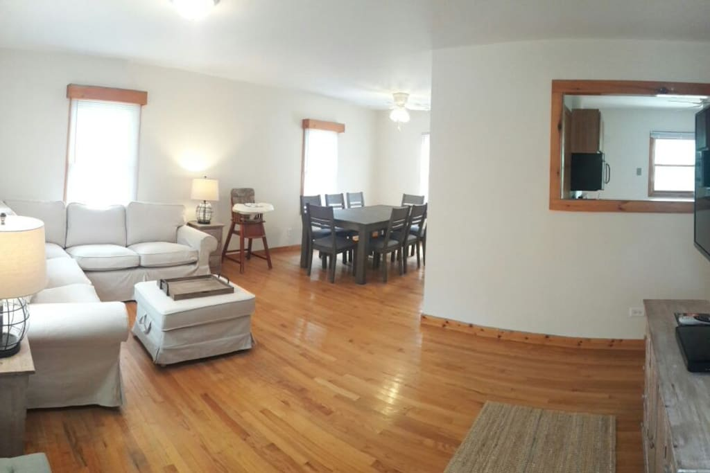 Living/Dining Room with 50 Inch Flat Screen TV