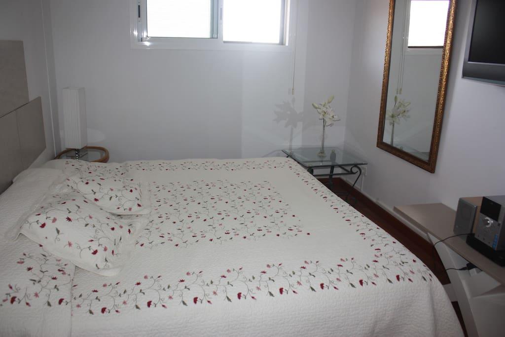 dormitorio con  parquet,grandes espejos mini cadena músical y televisor