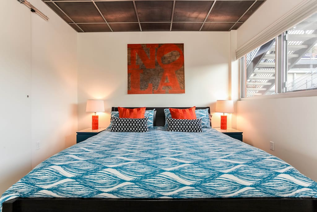 Incredibly comfortable king-size bed with down comforter and luxury sheets.