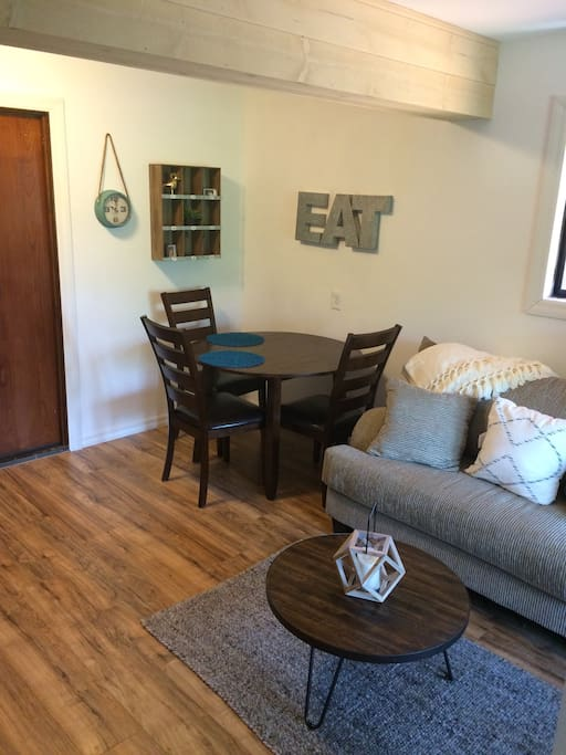 small dining table and couch