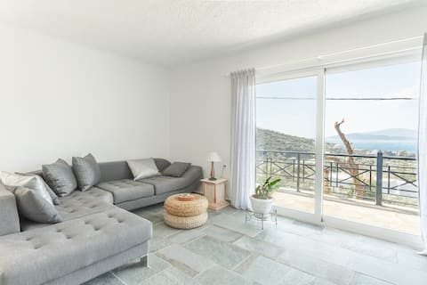 Modern 80qm Apt. with seaview 1 h from athens