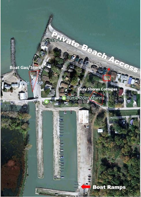 Map of the boat ramps, cottages, and beach access