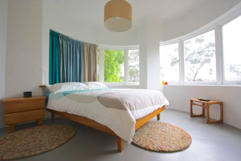 Beautiful bay windowed bedroom