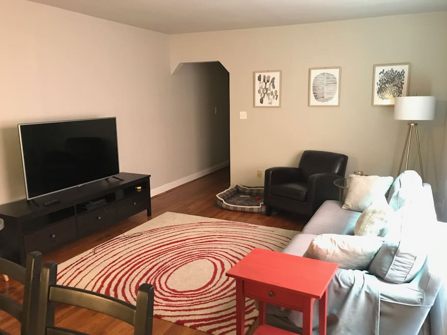 Living room, looking out of apartment