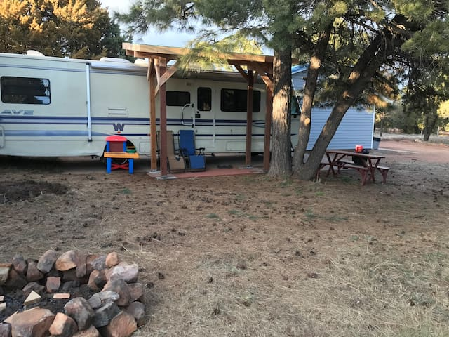 Motorhome nestled in the Pines-Glamping!:)