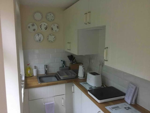 Kitchenette - kettle, toaster, halogen hob, combi microwave/oven, table-top fridge with small freezer compartment