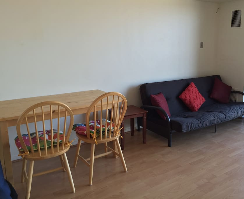 futon and dining table