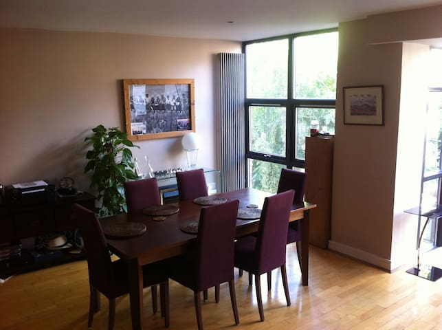 Large Dinning area for upto 6 people, large kitchen facility, with microwave, oven, frige freezer, coffee machine.