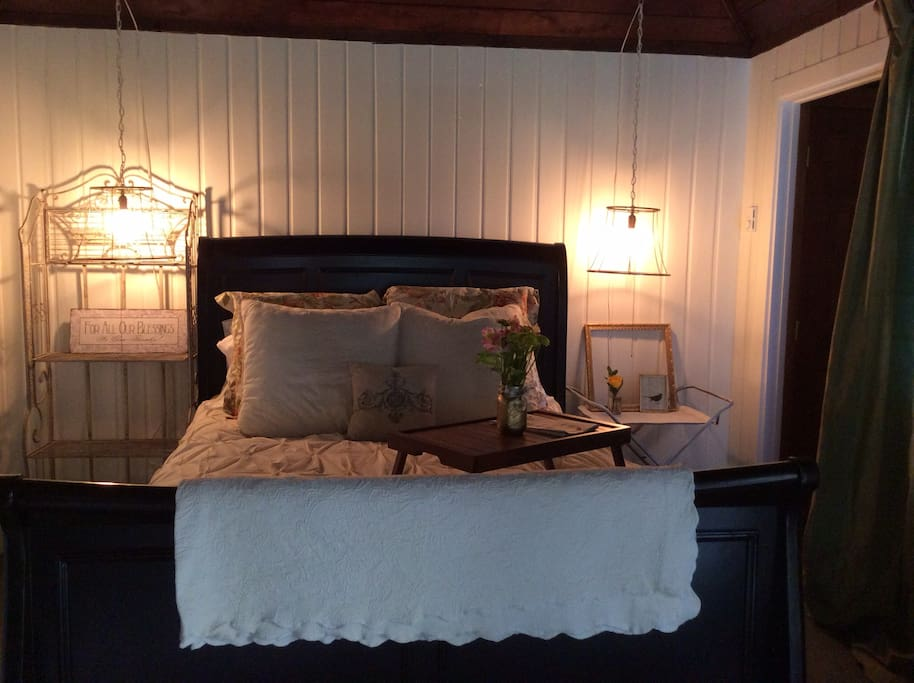 Queen sleigh bed for a peaceful nights rest!
