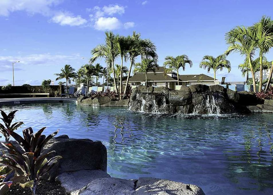 Relax by the sound of waterfalls by the pool! Pool area is open from 10 am - 9 pm