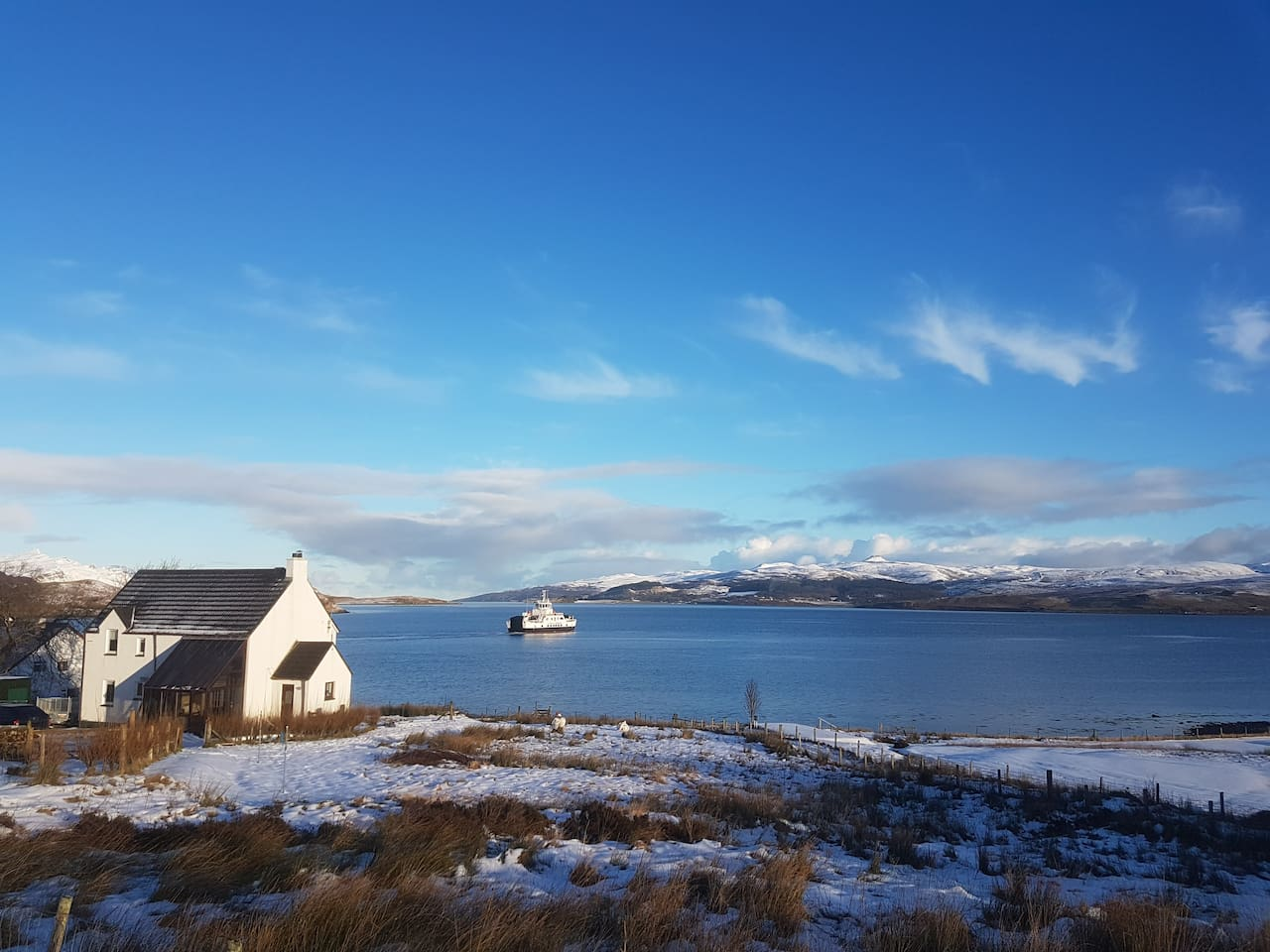View of Dun Caan with the Raasay ferry