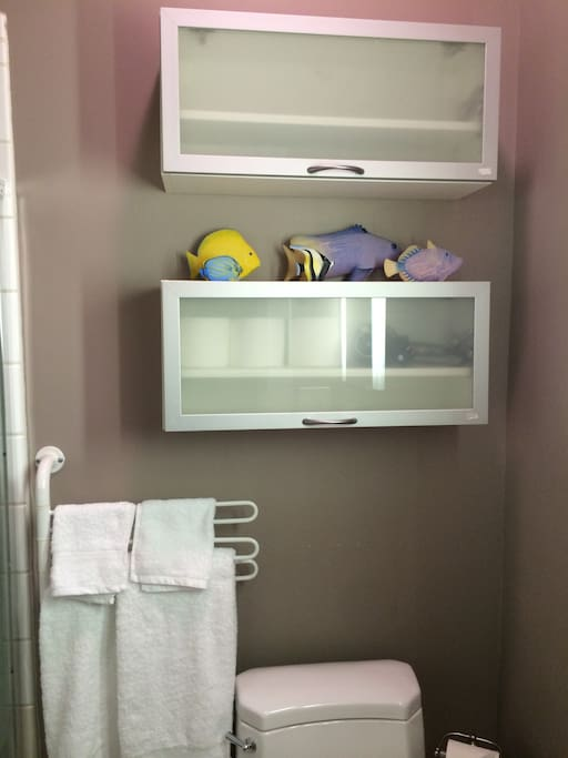 Small bathroom with shower stall