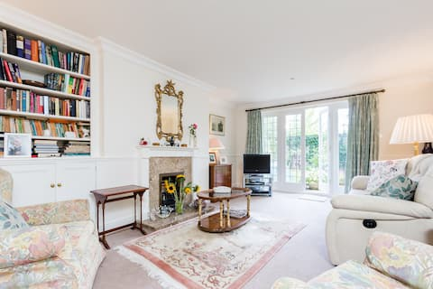 Light airy sitting room.  Fire for cosy nights.  Shared with family.