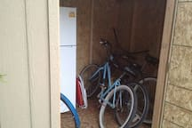 I have 4 bikes you can borrow, a stroller and beach chairs and toys