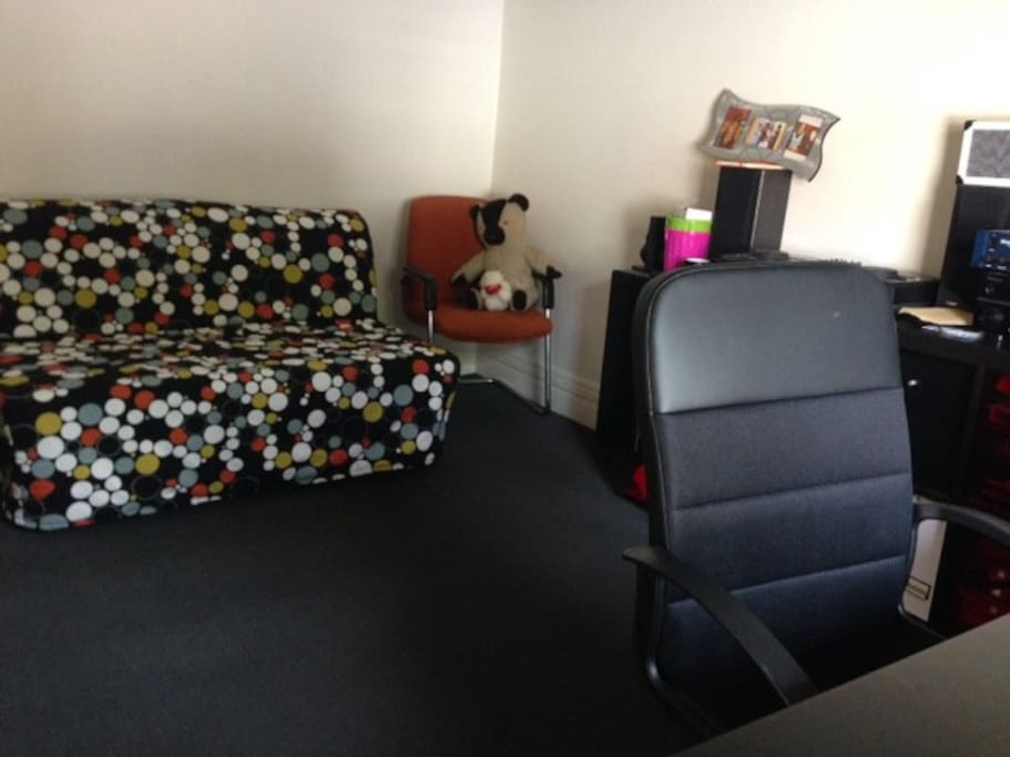Spare bedroom with a fold out sofa bed