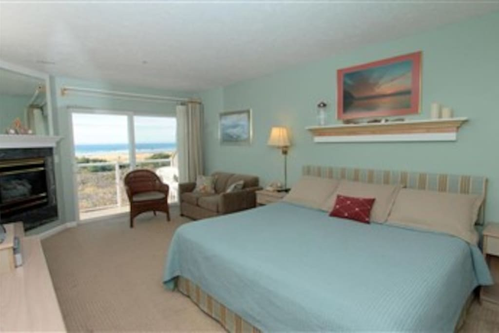 Large Space with King size bed 55 inch TV, and terrace, that opens to the Ocean.