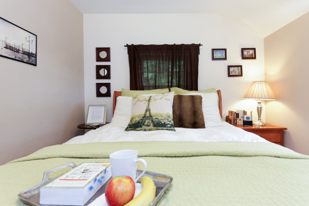 Relax in a cozy private room with original hardwood floors, high-quality bedding, pillow top mattress. Make yourself at home!