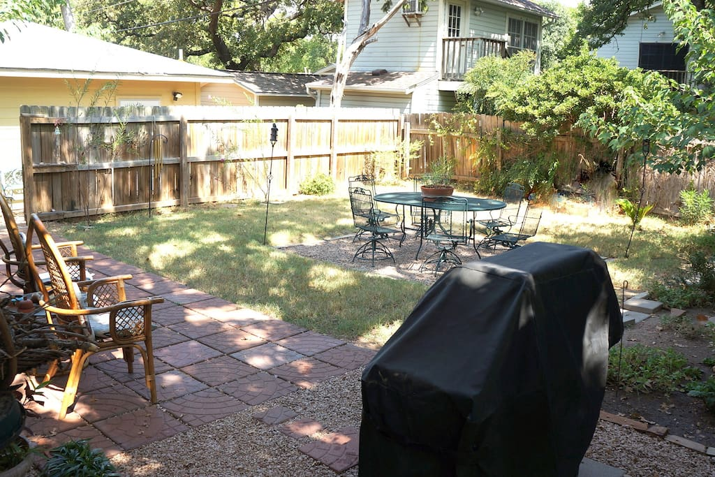 Gas Grill off shady patio area.