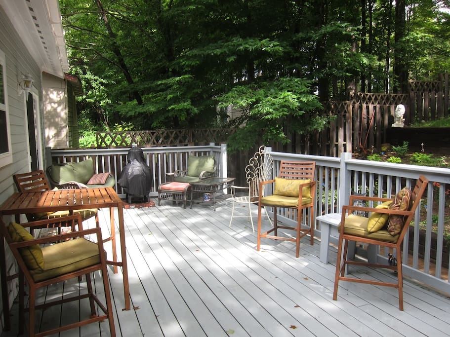 Private deck and backyard