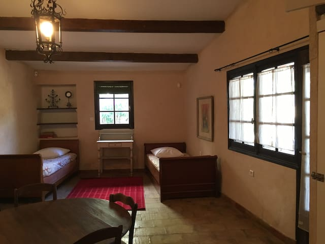 Spacious space, high ceilings, French door leading to the 'auvent'