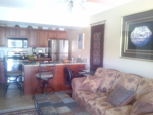 Living room and kitchen view 1