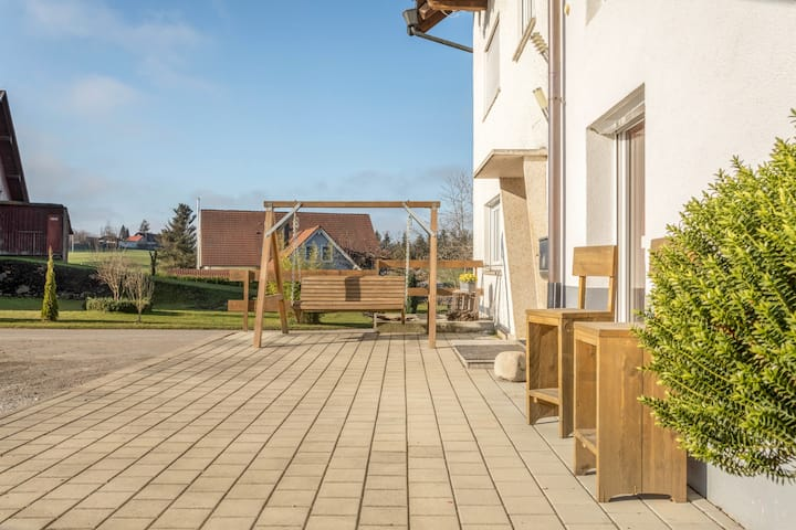 """Cosy Holiday Apartment """"Lindau"""" on Farm near Lake Constance with Mountain View, Wi-Fi, Terrace & Garden; Parking Available, Wheelchair-Accessible"""