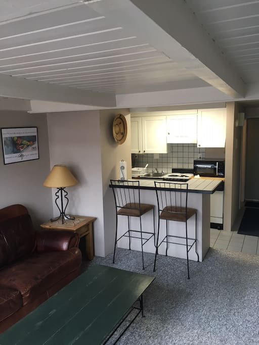 Fully functional clean kitchen with older appliances.