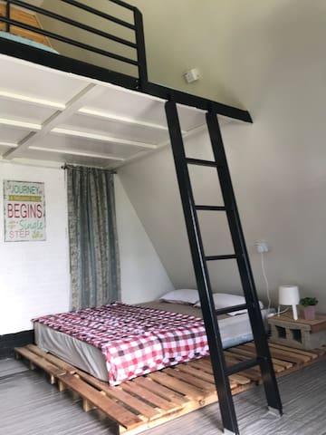 Queen bed below