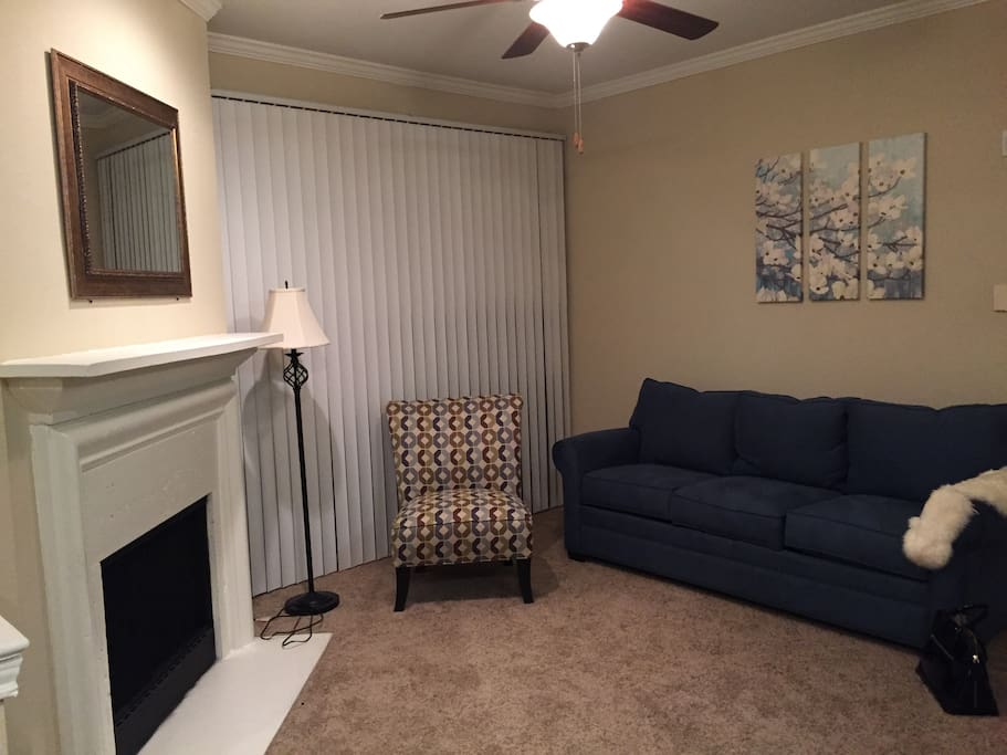 Living room with qeen size sofa bed