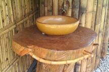 Hand wash basin in the outdoor bathroom