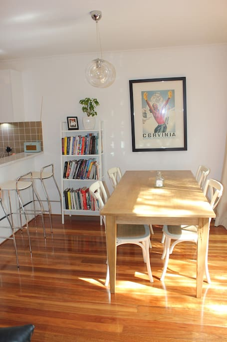 Take a seat at the breakfast bar or eat together inside or fire up the gas Weber and dine alfresco on the patio