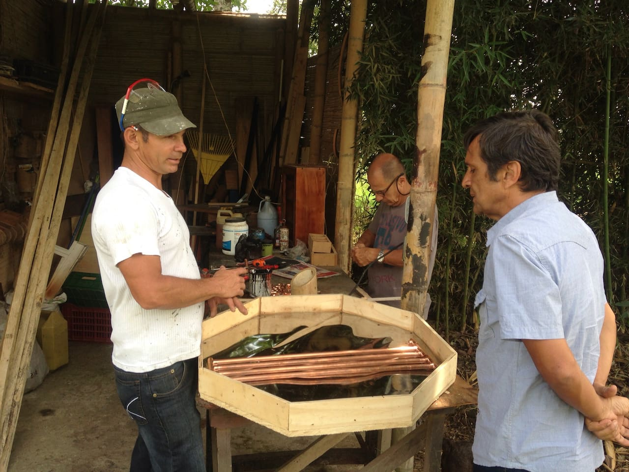 constructing a passive solar water heater for the outdoor shower