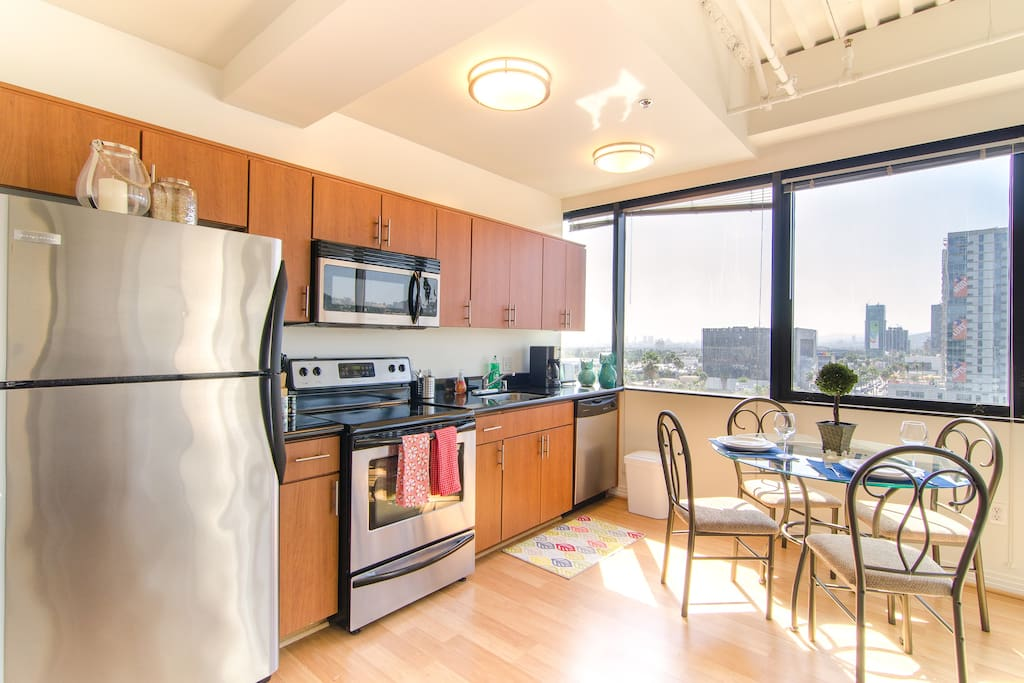 Save money and dine-in using the stainless steel appliances in the kitchen