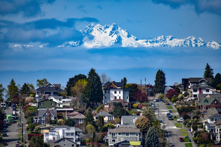 """View of the Olympic Mountains from the deck. They aren't always """"out,"""" but when they are they are breathtaking!"""
