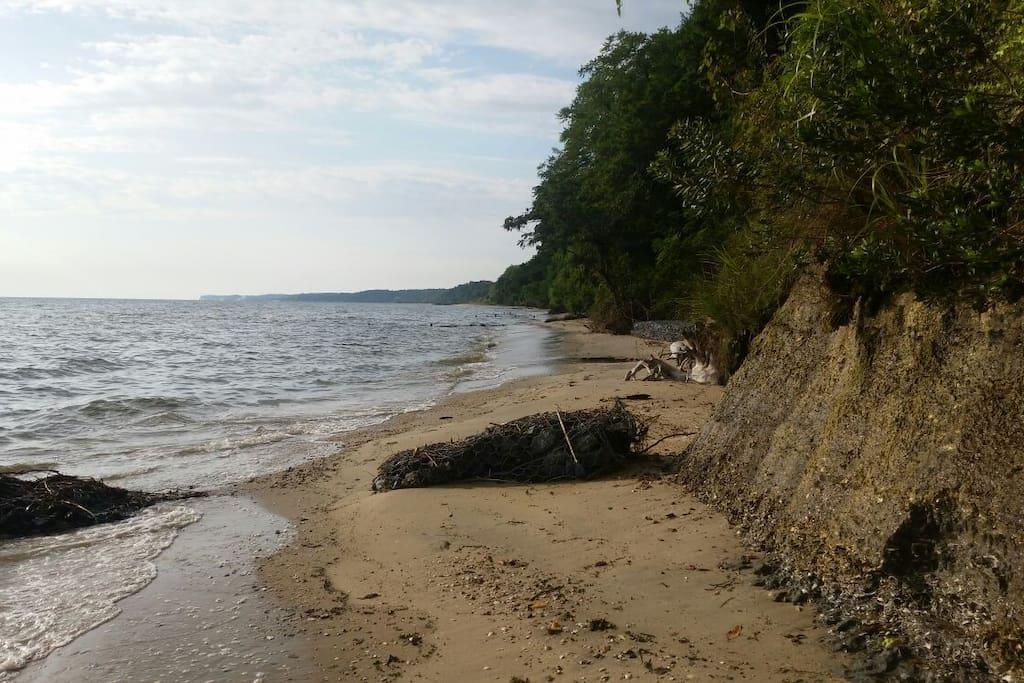 The beach has 3 sandbars and completely safe for children. Please do not climb the 100 ft cliffs which were once joined by the Bluffs of Martha's Vineyard.