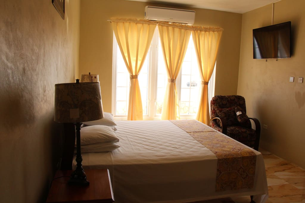 Air conditioned bed room with a TV. Extra room available.