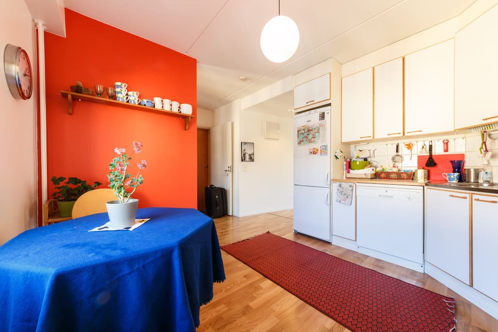 Spacious kitchen with all necessary cooking utensils
