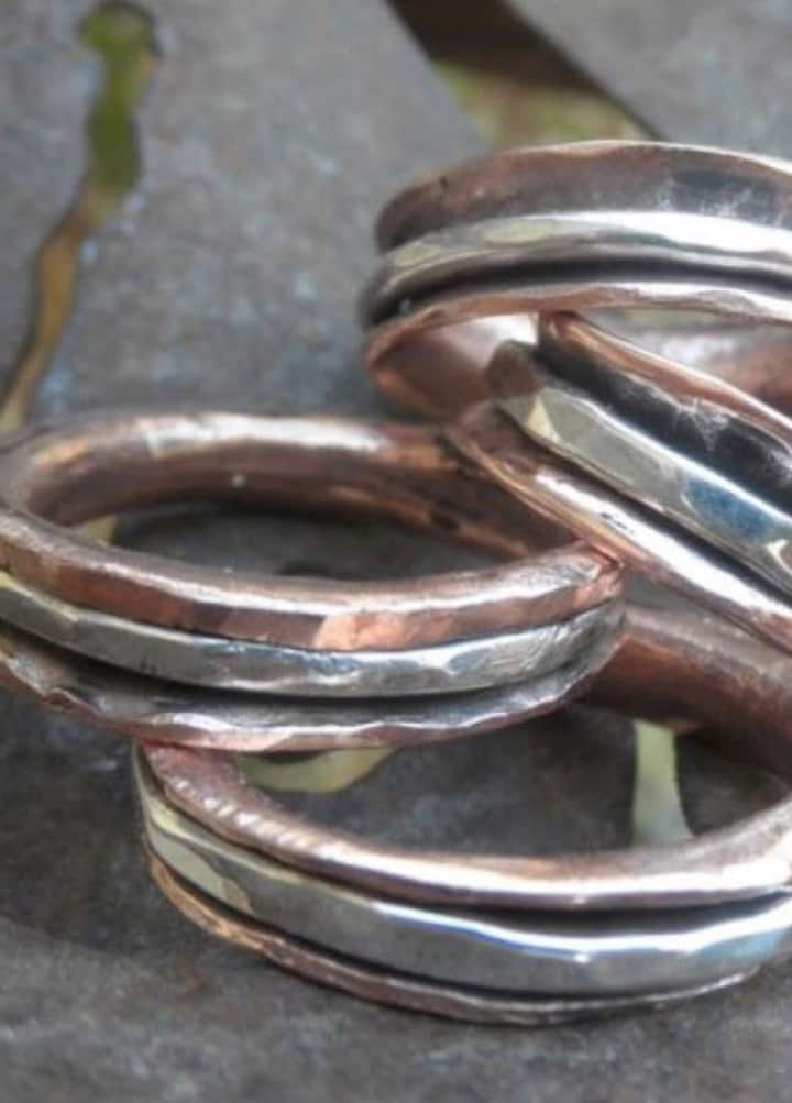 Layered rings of copper and sterling.