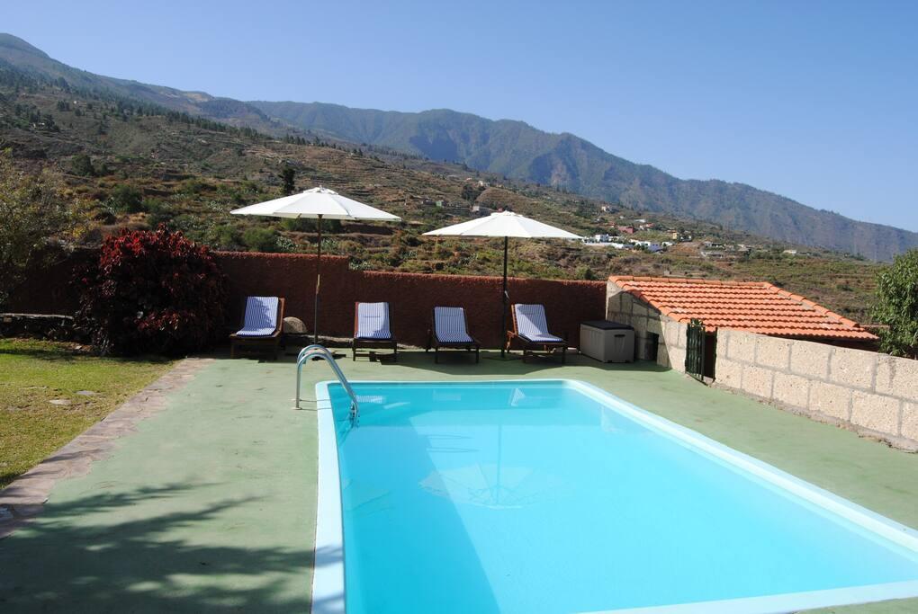 Un imponente marco natural alrededor de la piscina.