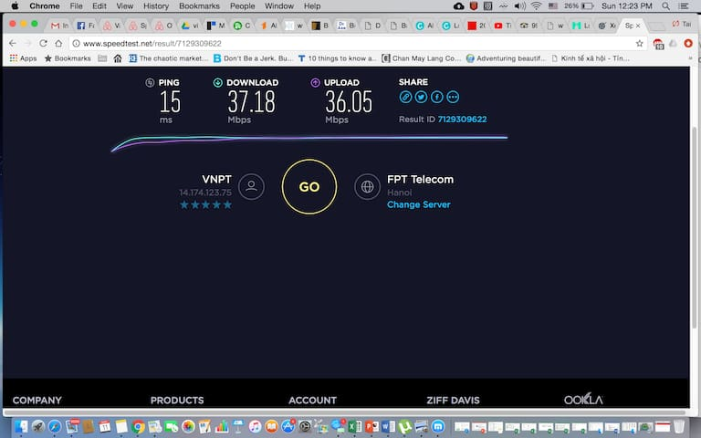 Internet speed of the property.